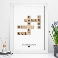 Personalised Scrabble Family Print - A4  Framed Prints