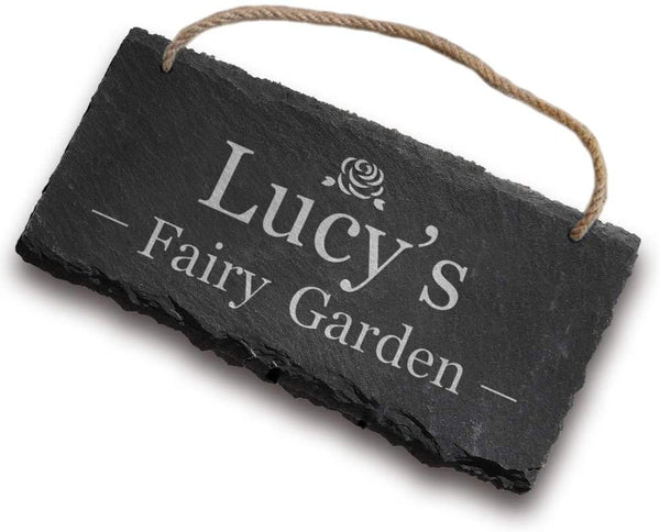 Personalised Hanging Sign Plaque | Engraved Rectangular Slate Door Sign | Custom Home Outdoor House Decoration Hand Finished in UK(Garden)