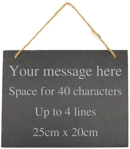 Personalised Engraved Large Hanging Slate Plaque/Sign