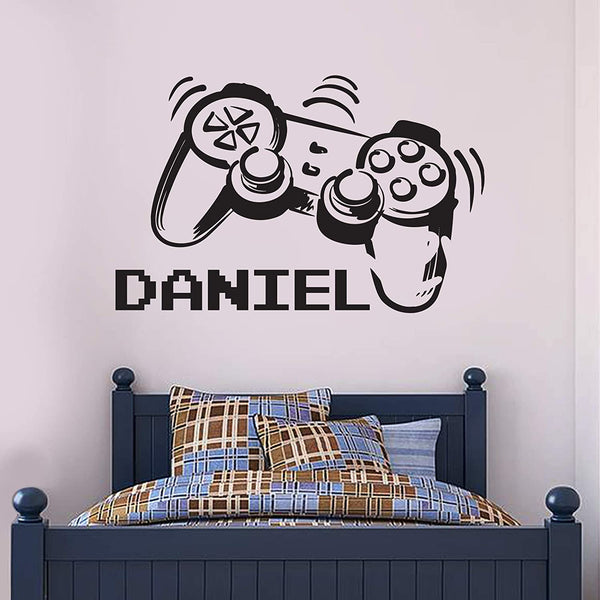 Gaming Controller Personalised Name Wall Sticker Gamer Bedroom Art Decal Mural Kids (60cm width x 40cm height)