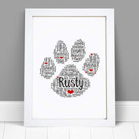 Personalised Paw Print Word Art Print -  A4 Prints & Framed