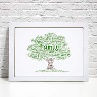 Personalised Family Tree Word Art Print -  A4 Prints & Framed