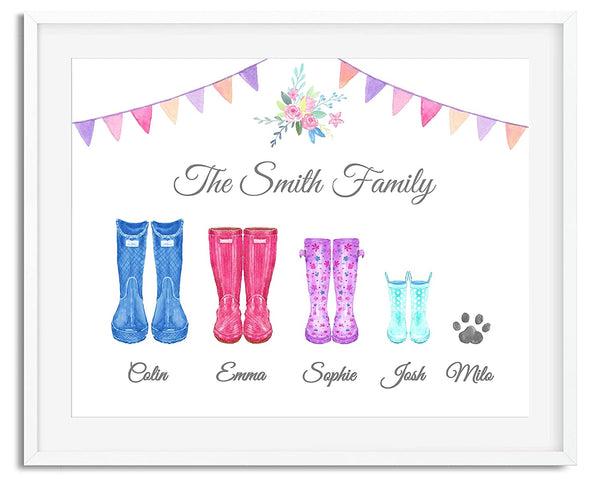 Personalised Wellington Boots Family Watercolour Premium Print Picture , A4 & Framed Options, Welly Art - Design 2