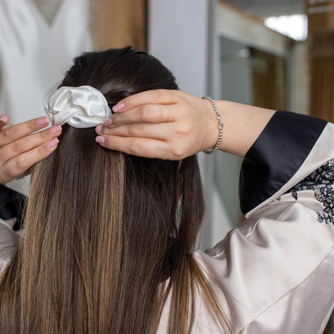 Hair styled with Pure Silk Scrunchie