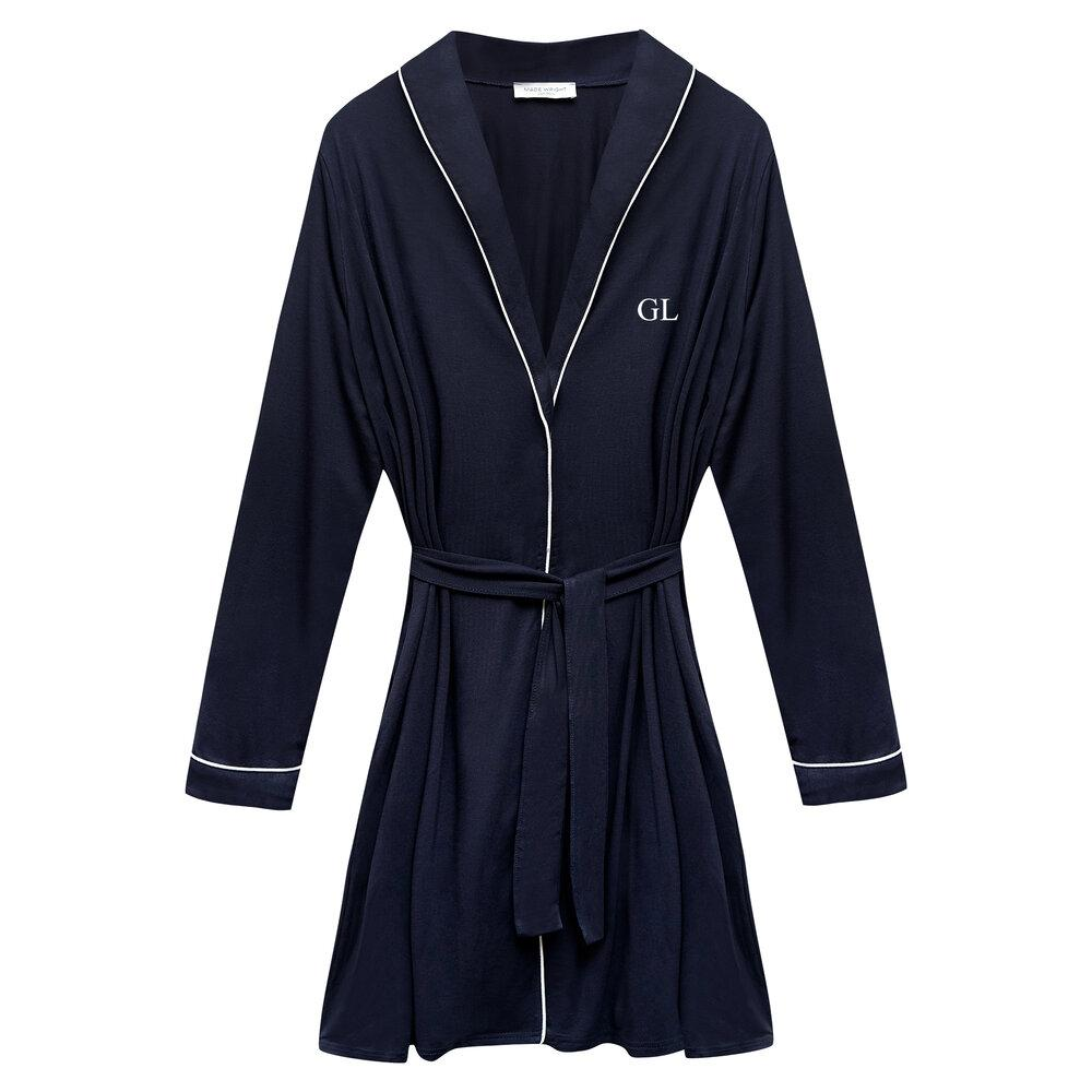 Katherine Bamboo Robe in Navy