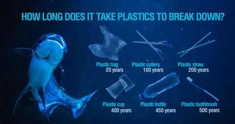 Comparison of how long it takes different plastic items to decompose. Often hundreds of years.