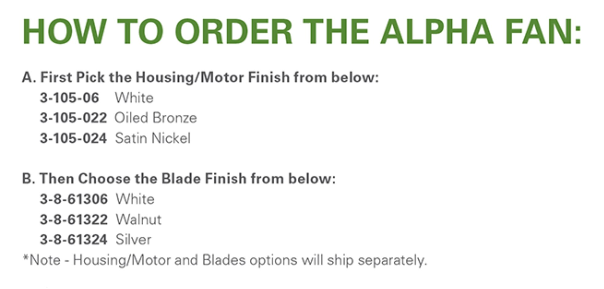 how to install Oxygen Alpha ceiling fan blades How to Order