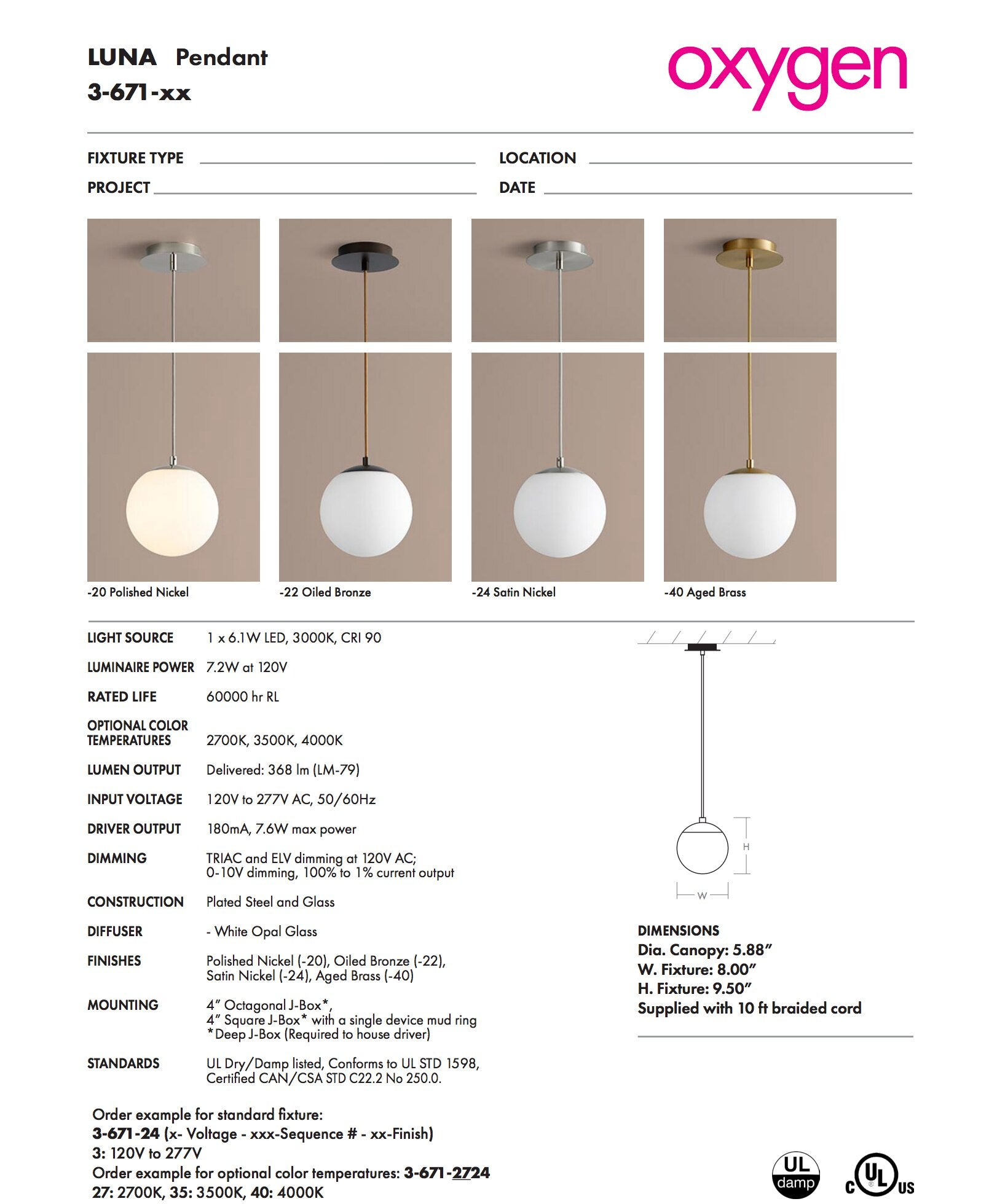 Oxygen Lighting 3-671-24 Luna Pendant Light, Satin Nickel finish with White Opal glass, Supplied with 10 ft braided cord