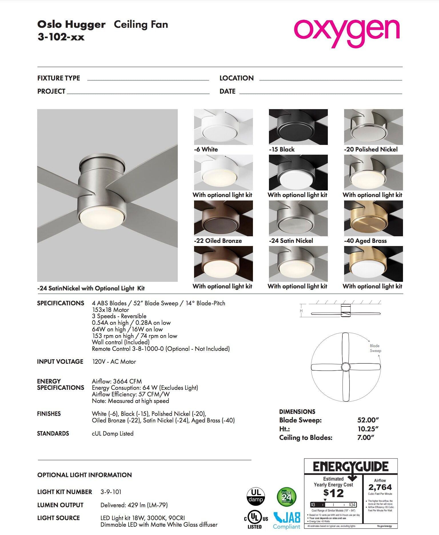 Oxygen oslo hugger ceiling fan Oxygen Lighting 3-102-40 Spec Sheet