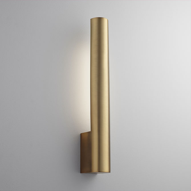 Oxygen Lighting 3-520-40 Aged Brass Mies 22Inch Tall 1 Light Ada LED Wall Sconce With Acrylic Lens