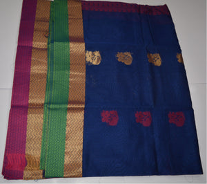 Handwoven Blue Silk Cotton Saree with Pink contrast blouse - Thanjavur Silk - SK Organic Farms