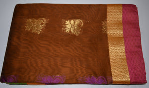 Handwoven Brown Silk cotton Saree with Purple contrast blouse  - Thanjavur Silk - SK Organic Farms