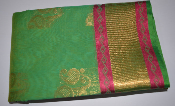 Handwoven Green Silk cotton Saree with pink contrast border   - Thanjavur Silk