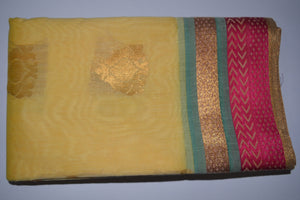 Handwoven Ivory color Silk cotton Saree with Pink contrast border    - Thanjavur Silk - SK Organic Farms