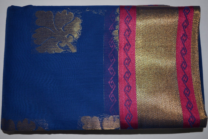 Handwoven Blue Color Silk Cotton Saree With Pink Contrast Border     - Thanjavur Silk