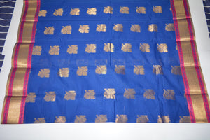 Handwoven Blue Color Silk Cotton Saree With Pink Contrast Border     - Thanjavur Silk - SK Organic Farms
