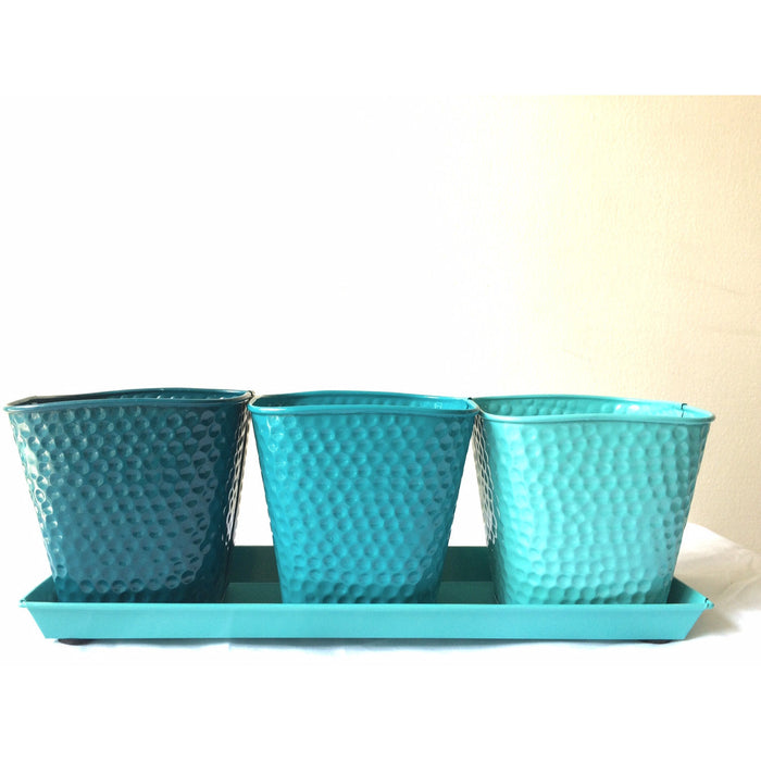 TABLE TOP TRAY WITH SET OF 3 PLANTERS