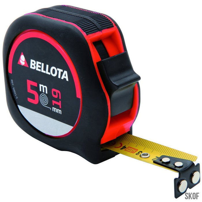 BELLOTA 50011M-5 SELF-RETRACTING TAPE MEASURE 5 M WITH TAPE 19 MM WIDE AND WITH MAGNET. PRECISION LEVEL II