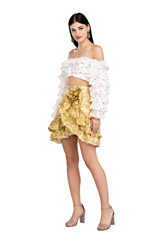 Gold Wrinkle Ruffle Skirt