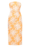 Orange Brocade Pencil Dress