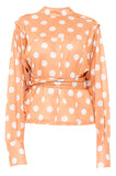 Orange Polka Envelope Blouse
