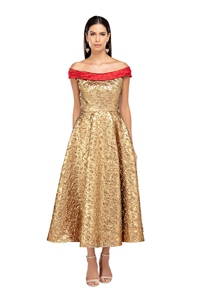 Gold Off Shoulder Midi Gown