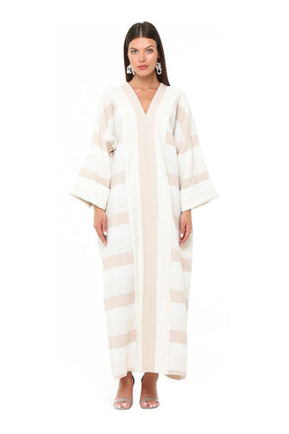 Beige Striped Petunia Kaftan
