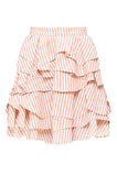 Orange Striped Ruffle Skirt