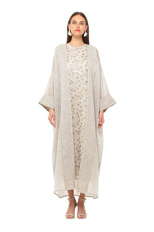 Beige Embroidered Isabella Kaftan