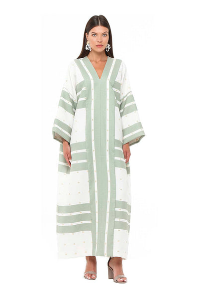 Green Striped Petunia Kaftan