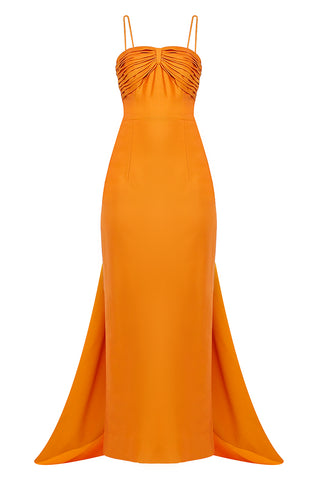 Orange Pencil Back Bow Gown