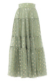 Green Polka Peasant Skirt