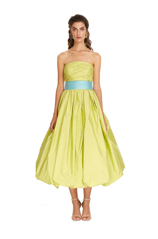 Lime Taffeta Bubble Midi Gown