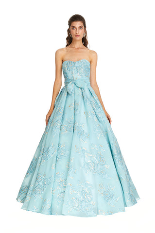 Teal Metallic Cinderella Gown