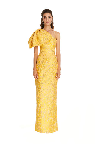 Mustard Sparkle Side Bow Gown
