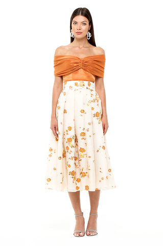 Orange Fil Coupe Skirt