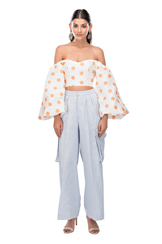 Orange Polka Globo Top