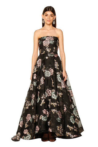 Magda Black Floral Gown