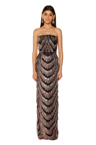 Geometric Plumas Pencil Gown