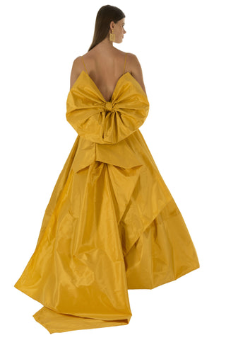 Yellow Bubble Back Bow Gown