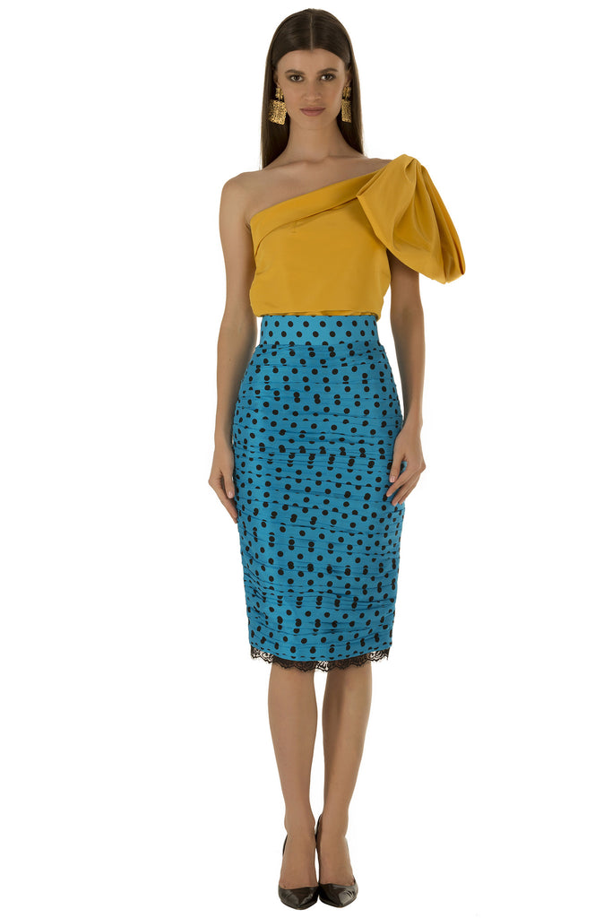 Blue Polka Ruched Skirt