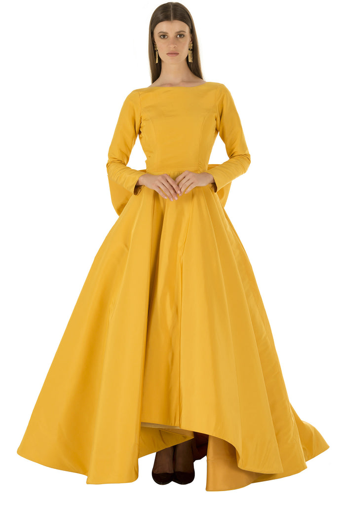 Yellow Faille Long Sleeve Backless Bow Gown