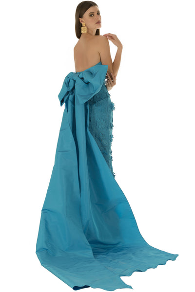 Blue Applique Fish Tail Gown