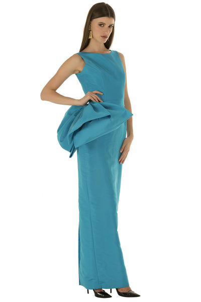 Blue Pencil Backless Bow Gown