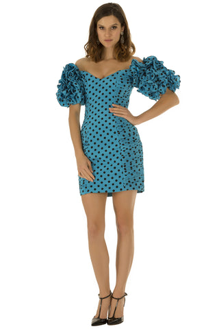 Blue Polka Mini Dress