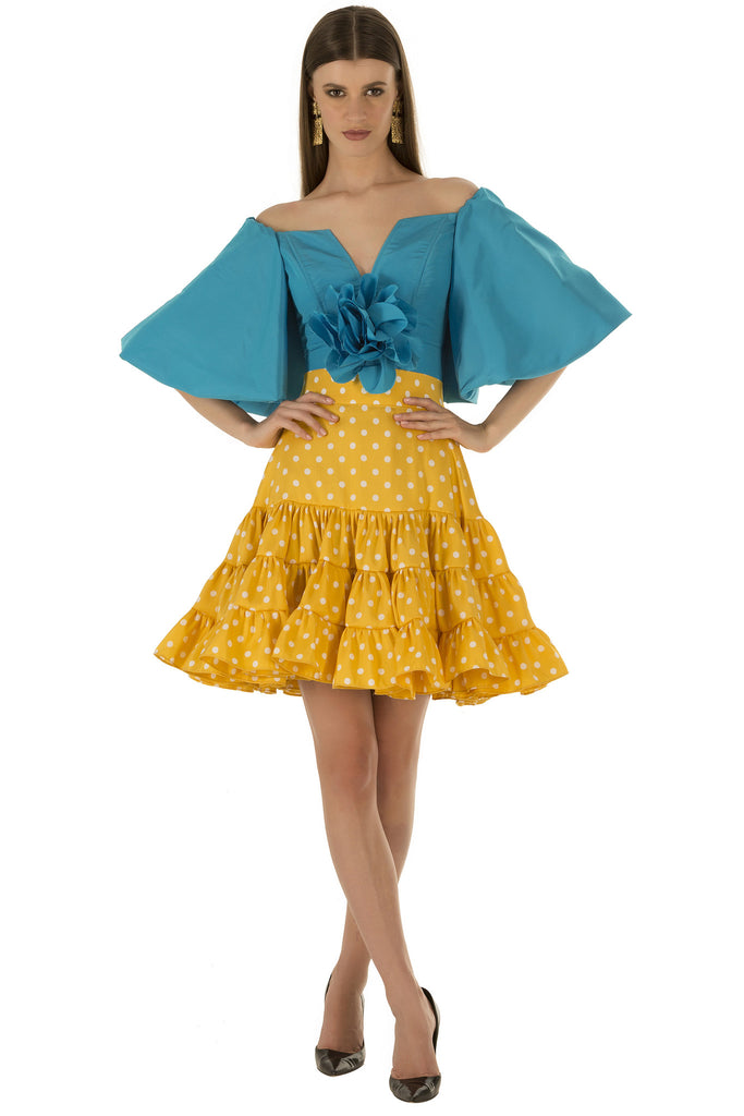 Yellow Polka Ruffle Skirt