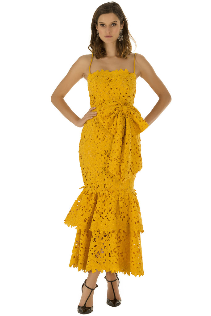 Yellow Lace Double Ruffle Dress