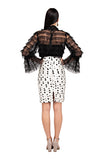 White Polka Ruched Pencil Skirt