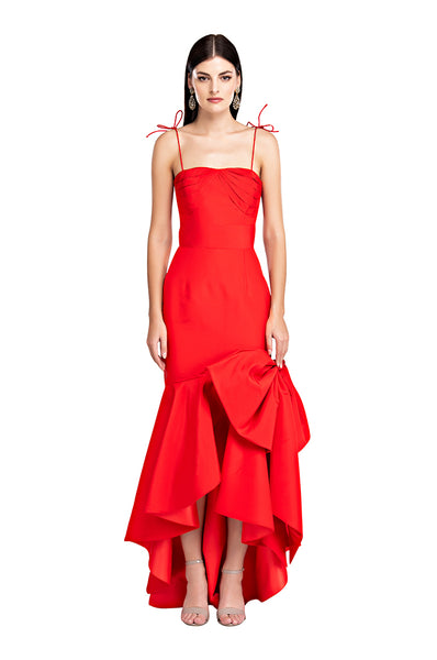 Red Faille Mermaid Bow Gown