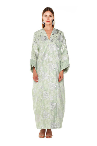Green Metallic Petunia Kaftan